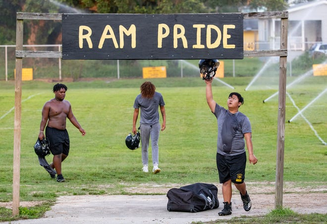 Rutherford hit their practice field Tuesday, August 3, 2021. The Rams open the regular season Friday night vs. Mosley.