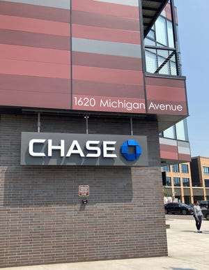 Detroit's new Chase bank branch opened in February at the corner of Michigan and Trumbull