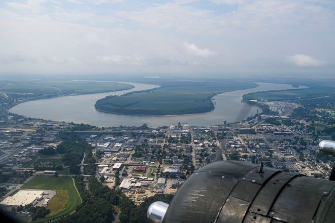 Evansville, seen through a window of the B-17 Flying Fortress Texas Raiders bomber Thursday morning, July 8, 2021, has seen very little change in the number of residents in the past decade, new census numbers indicate.
