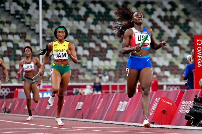 Lynna Irby (USA) in the women's 4x400 relay round 1 during the Tokyo 2020 Olympic Summer Games at Olympic Stadium on Aug. 5 2021.  Mandatory Credit: James Lang-USA TODAY Sports.