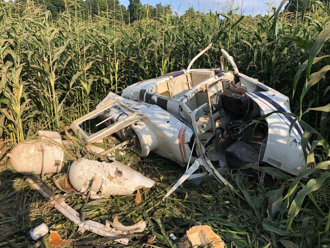 A helicopter crashed into a cornfield in Corydon, Indiana, late Wednesday afternoon, Indiana State Police said.