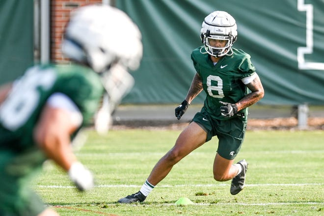 Michigan State's Jalen Nailor runs a drill during the opening day of fall camp on Thursday, Aug. 5, 2021, on the MSU campus in East Lansing.