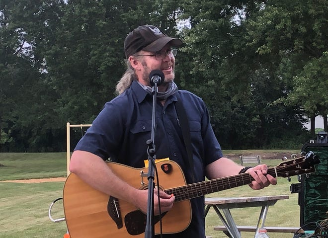 Iraq veteran Jason Moon uses music to help other veterans heal. He performed Wednesday evening at South Park in Pewaukee.