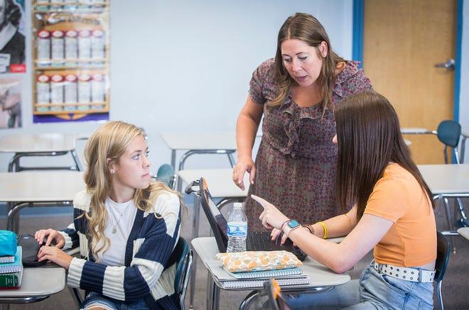 Delta High School English teacher Amanda Craw in her classroom Thursday, Aug. 5, 2021.