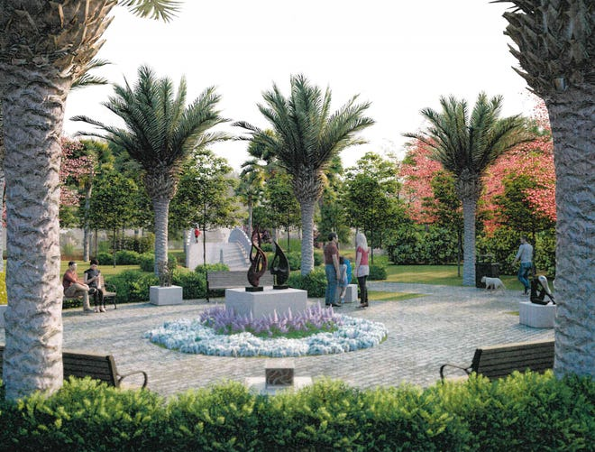Renderings of a possible redesign of Island Park after Bonita Springs City Council voted to purchase land to expand the small space for $150,000.