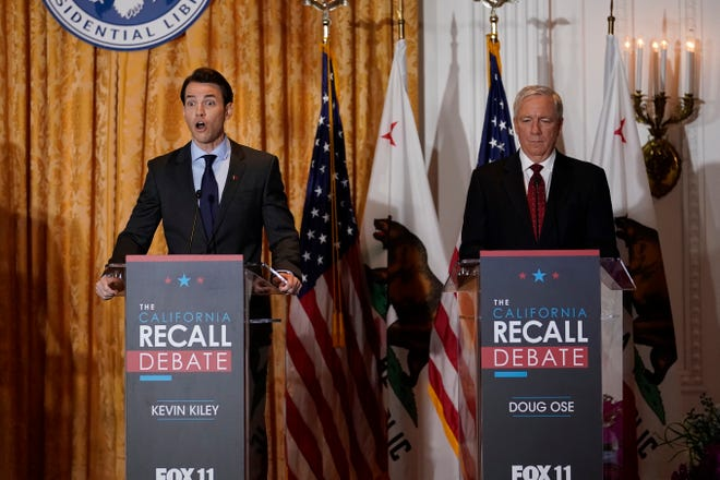 Republican candidates for California Governor Kevin Kiley, left, and Doug Ose participate in a debate at the Richard Nixon Presidential Library Wednesday, Aug. 4, 2021, in Yorba Linda, Calif. California Gov. Gavin Newsom faces a Sept. 14 recall election that could remove him from office. (AP Photo/Marcio Jose Sanchez)