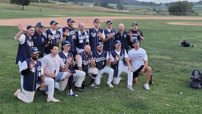The East Prospect Pistons, shown here posing for a team photo after winning a fifth consecutive Susquehanna League regular-season crown, will now attempt to defend their Susquehanna playoff championship.