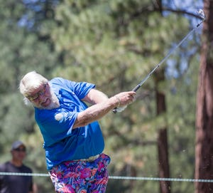John Daly hits a tee shot on the 7th hole taken during the Barracuda Championship PGA golf tournament at Tahoe Mt. Club's Old Greenwood golf course in Truckee, California on Thursday, August 4, 2021.