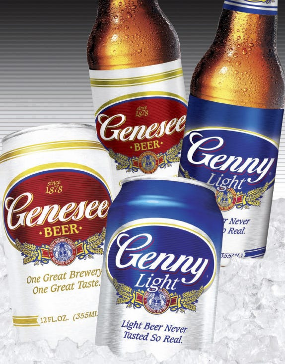 Redesigned Genesee Beer and Genny Light brands from High Falls Brewing Co in this 2007 file photo. These labels were released after a group of employees bought the brewery in the early 2000s and saved it from going under.