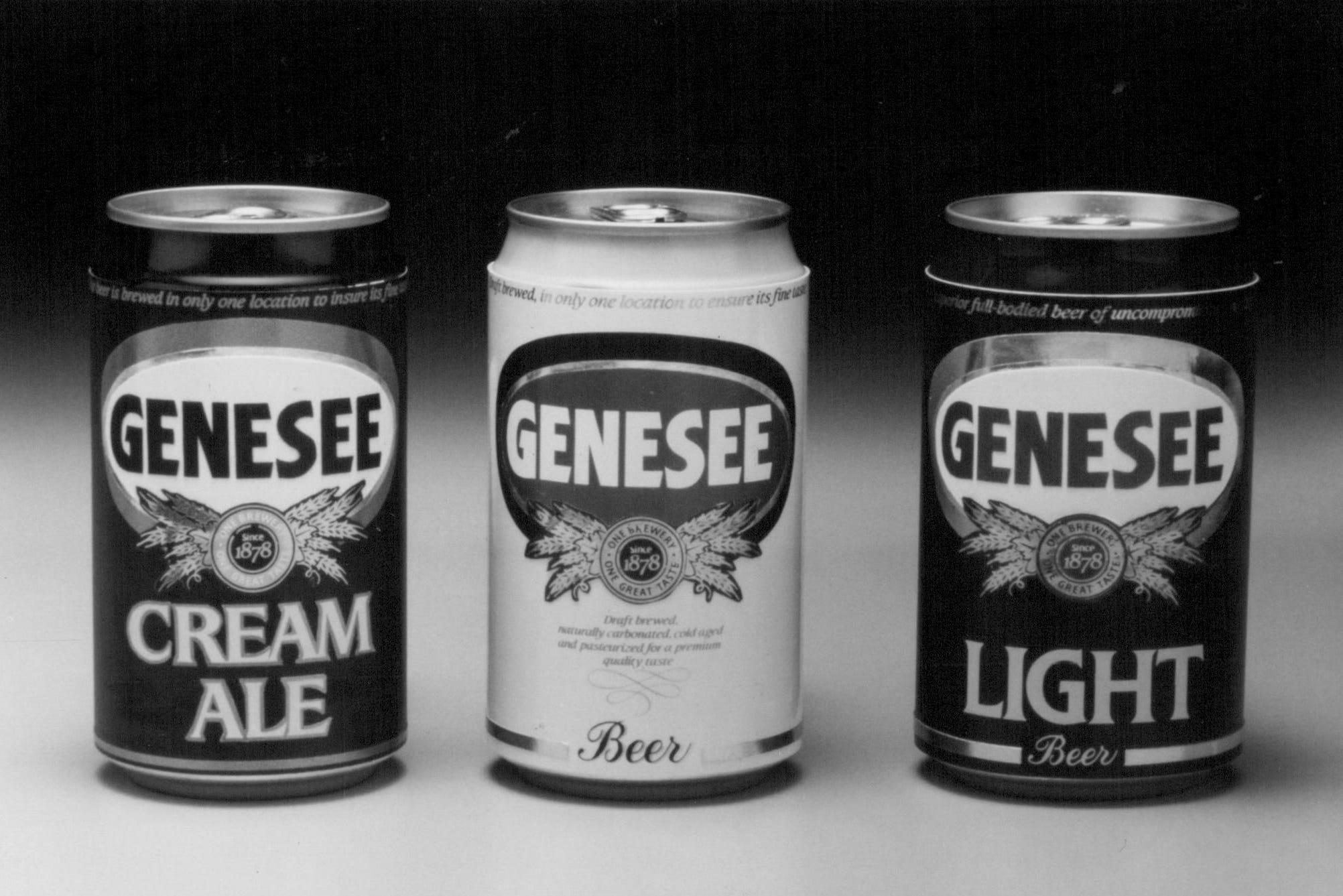 Genesee's three flagship beers: Genesee Beer, Cream Ale, and Light.