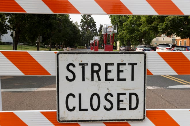 Closures are again in place on streets around the Capitol for the Hoopla event.