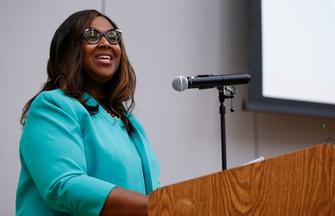 Springfield Public Schools Superintendent Grenita Lathan delivers her first State of the Schools address during Good Morning Springfield at Delaware Elementary School on Thursday, Aug. 5, 2021.