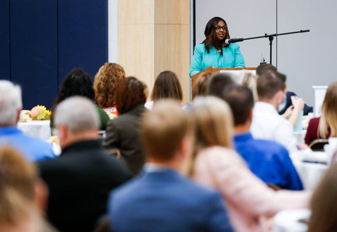 Springfield Superintendent Grenita Lathan gives her first State of the Schools address Aug. 5.