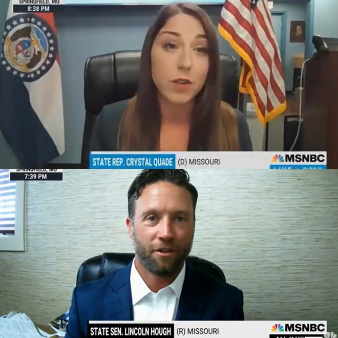House Minority Leader Crystal Quade, a Democrat, and Republican Sen. Lincoln Hough, both from Springfield, have both made national TV appearances in recent weeks as Missouri makes national headlines.