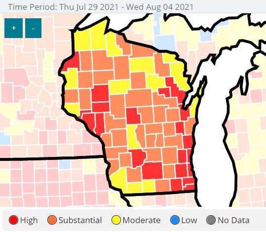 A map showing Wisconsin counties and their rate of transmission for COVID-19 cases between July 29 and Aug. 4.