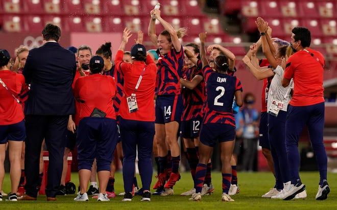 Aug. 5: The U.S. women's soccer team celebrates winning the bronze medal match against Australia.