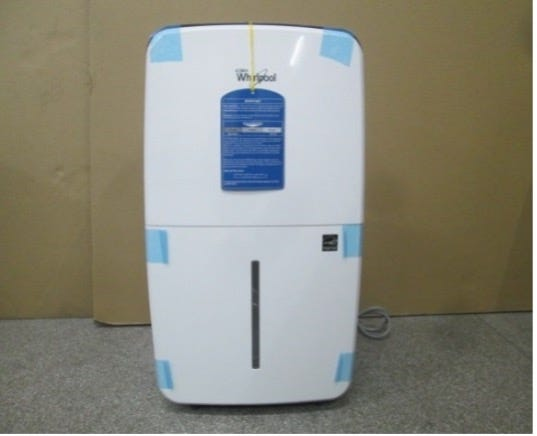 A Whirlpool dehumidifier, one of several involved in a recall announced by the Consumer Product Safety Commission.