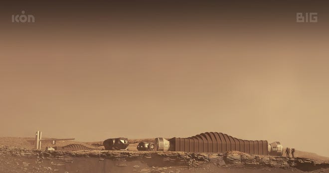 Austin-based 3D printing construction company Icon is building a 1,700-foot Mars simulation habitat for NASA that will host three year-long crews and be used to study how humans may be able to live in space one day. Renderings show what the structure could look like on Mars.