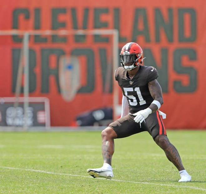 After a difficult season during which Browns linebacker Mack Wilson contemplated quitting football, he is back with a renewed determination and has been a standout in training camp. [Phil Masturzo/ Beacon Journal]