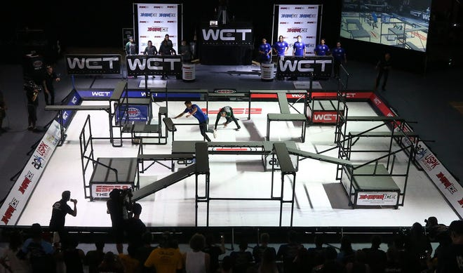 """ESPN films the World Chase Tag American Championship for ESPN """"The Ocho"""" at Goodyear Hall in Akron."""