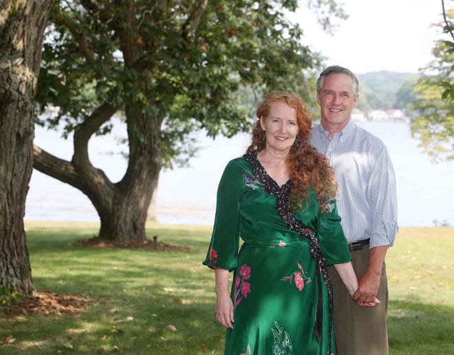 Summit County Council member Bethany McKenney and her husband, Barberton Municipal Court Judge Todd McKenney, on the grounds of the Tudor House in New Franklin on Friday.