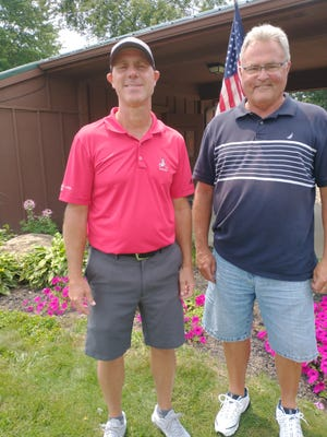 Dave Drumm, right, was second place, and Jeff Campbell was third place in the Tannenhauf Men's Club Championship.