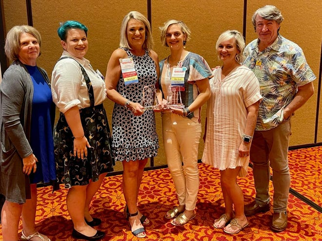 Staff from Southern Oklahoma Library System pose with their awards. (L-R) Pam Bean, Cherlyn Snow, Gail Oehler, Alyson Blankenship, Stephanie Way and Rudy Ellis.
