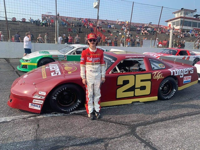 Ashland teenager Jonathan Shaferpaid tribute to racing legend Tim Richmond during the CARS Tour Throwback 276 race at Hickory Motor Speedway in North Carolina on July 31. Shafer dressed up likeRichmond, also from Ashland, and drove an exact replica of Richmond's 1987 Chevrolet.