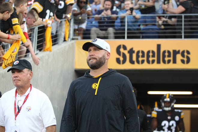 Pittsburgh Steelers quarterback Ben Roethlisberger exits the tunnel during the Steelers introductions prior to the start of the 2021 Hall Of Fame Game against the Dallas Cowboys Thursday night at Tom Benson Hall Of Fame Stadium in Canton, Ohio.