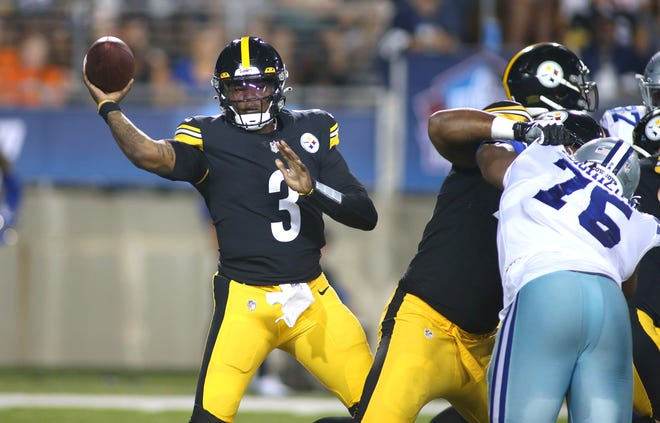 Pittsburgh Steelers quarterback Dwayne Haskins (3) attempts to pass the ball during the 2021 Hall Of Fame Game Thursday night against the Dallas Cowboys at Tom Benson Hall Of Fame Stadium in Canton, Ohio.