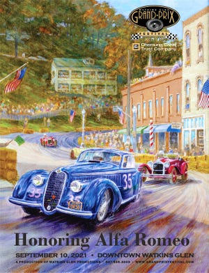 """Penn Yan's own Robert Gillespie created the poster for the 2021 Watkins Glen Grand Prix Festival. A retired Penn Yan Middle School art teacher, Gillespie has a passion for cars and racing, and his automobile-inspired art is featured in murals around the Glen. This poster was inspired by the 1948 Grand Prix, run on """"the Old Course"""" through the village, led by Frank Griswold's No. 35, a 1938 8-cylinder Alfa; followed closely by an earlier Alfa from about 1930, driven by a Mr. Hendrie; and Cameron Argetsinger's red MGTD farther back on the curve."""