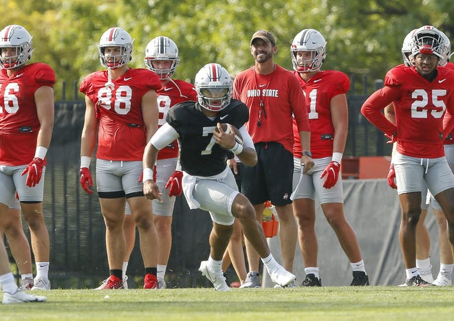Head coach Ryan Day says there's no frontrunner for the starting quarterback job yet, but C.J. Stroud has been first in line during the parts of practice open to the media.