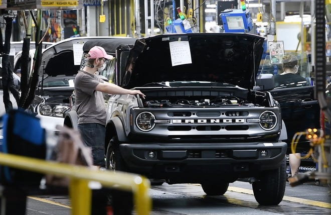 Tour of the Michigan Assembly Plant where the new Ford Bronco SUV is being built, in Wayne, Michigan. Low inventories have meant higher prices for car buyers and strong financial results for automakers.
