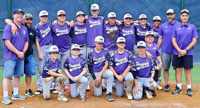 Wallenpaupack secured the title for this year in the Wayne County Junior Babe Ruth League with a sizzling 7-6 win over Honesdale. This year's Purple club consisted of (front) Kyle Scartelli, Linus Bond, C.J. Doty, Trevor Phillips, Thomas Kiersted, Manager Peter H. Bond (back) Coach Kevin Decker, Coach Mark Nilsen, Sr., Brady Reynolds, Keaton Phillips, Gannon Decker, Jake Holbert, Mark Nilsen, Peyton Toth, Grant Tonkin, Michael Paltzer, Coach Matt Holbert, Head Coach Chris Doty.