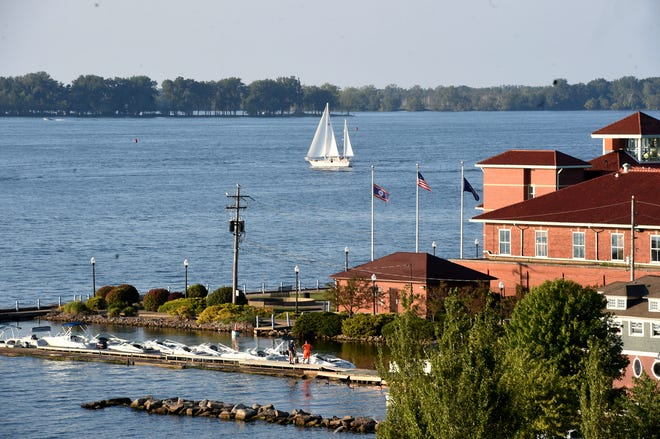 A sailboat glides across Presque Isle Bay on Aug. 5.