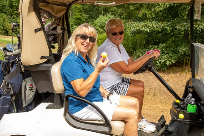 Ann French and Cathie Chasse participate in a recent Falls Chamber of Commerce Golf Tournament, which will take place this year on Aug. 18 at the Oaks Golf Links in Somersworth.