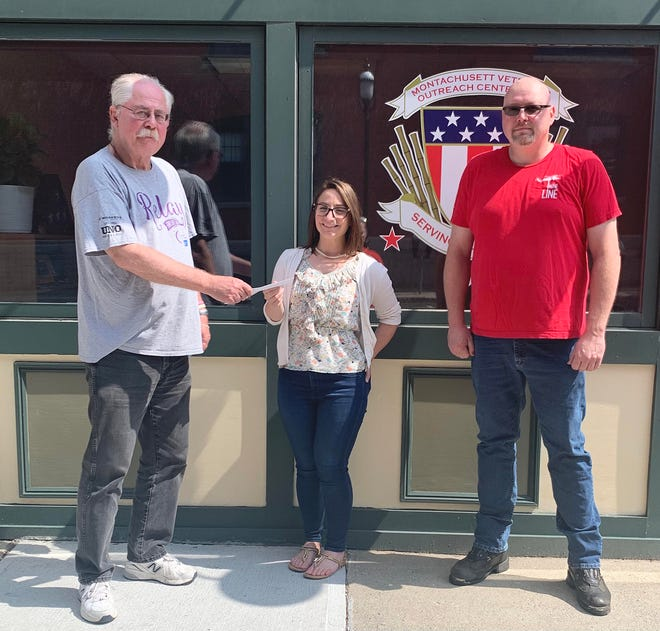Gardner Elks Lodge 1426 made a $1,000 donation to the Montachusett Veterans Outreach Center on Aug. 6. Michael Kowalewicz is shown presenting the check to Stephanie Marchetti, MVOC executive director, with Tim Land. The donation will be used for Unity House, a male veteran residence in Gardner that Kowalewicz's late wife, Jean, was instrumental in launching more than a decade ago.