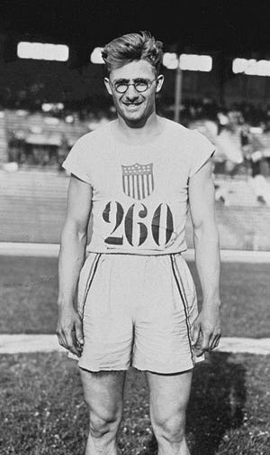 Two-time Olympic gold medal winner Harold Osborn, an agriculture teacher at Lewistown High School in 1924 when he competed in the Olympics at Paris.