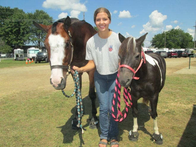Bailey McCaffrey, 19, the top 4-H horse showman at the Monroe County Fair, showed both her paint horse named Burnt Cookies and a mini-horse named Louise.