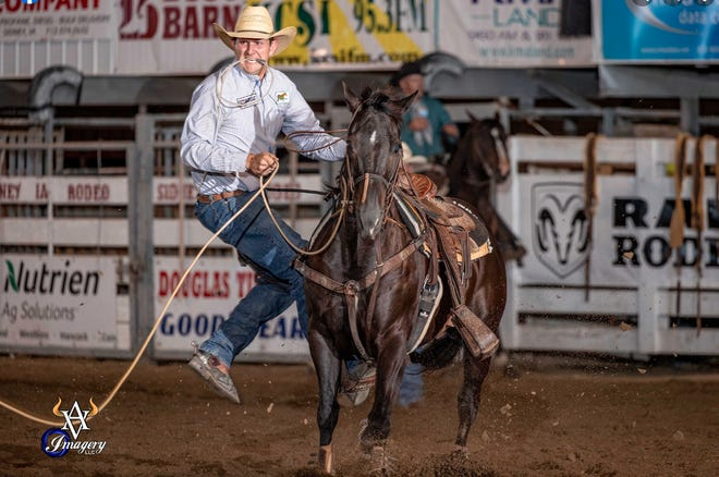 Sidney Iowa Rodeo competitor Wyatt Muggli dismounts from his horse during action on Tuesday. The rodeo began on Tuesday and continued with performances through Saturday. This photo is courtesy of Avid Visual Imagery Rodeo Photography. Photos from this year's rodeo can be browsed and purchased at https://avidvisualimagery.zenfolio.com/f78362912
