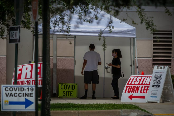 Palm Beach County's newest COVID-19 testing and vaccination location is at the Mid County Senior Center at 3680 Lake Worth Road in unincorporated Palm Beach County, Fla. People walk into the facility on Friday, August 5, 2021.