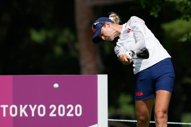 Aug 6, 2021; Tokyo, Japan; Nelly Korda (USA) tees off on the 18th hole during the third round of the women's individual stroke play of the Tokyo 2020 Olympic Summer Games at Kasumigaseki Country Club. Mandatory Credit: Michael Madrid-USA TODAY Sports