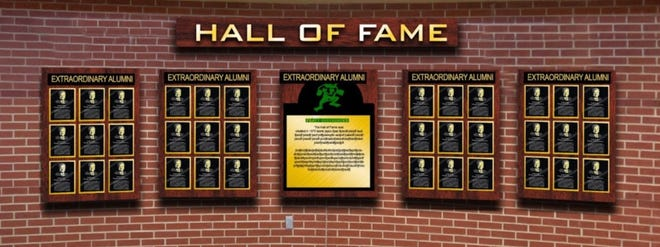An artist's rendition of a planned permanent wall of recognition for extraordinary Pratt High School graduates is shown here and will be placed inside the USD 382 facility in the future.