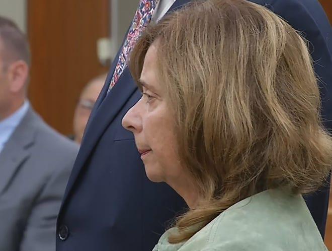 Barbara Trojan in District Court, Warwick, in October. [Pool photo / WJAR]