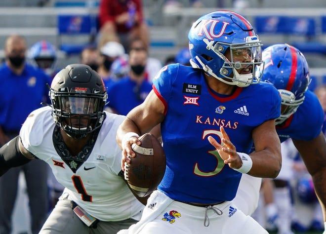 Senior Miles Kendrick (3) is one of three Kansas quarterbacks battling for the starting job as the Jayhawks open fall camp.