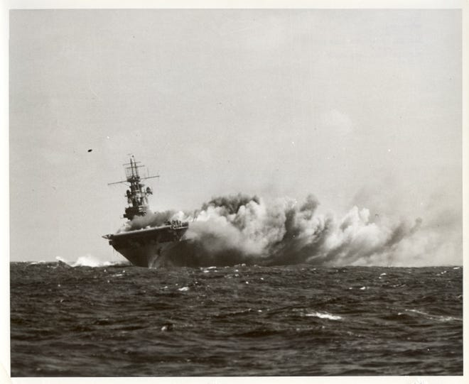 A Japanese torpedo strikes the carrier USS Wasp off Guadalcanal in the Solomons on September 15, 1942. Wasp sank that day.