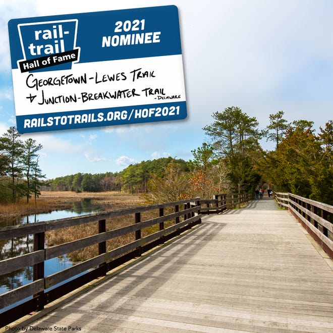 Delaware State Parks announced the Georgetown-Lewes Trail and Junction & Breakwater Trail are nominated for the Rails-to-Trails Conservancy Hall of Fame, encouraging the public to vote through Aug. 6 at bit.ly/2V8ncD2.