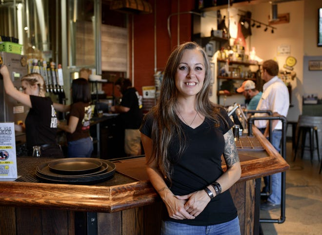 Kimberly Golinski, Wormtown Brewery's new president and general manager, at the Worcester brewery Friday. She will assume full control of operations Aug. 16.