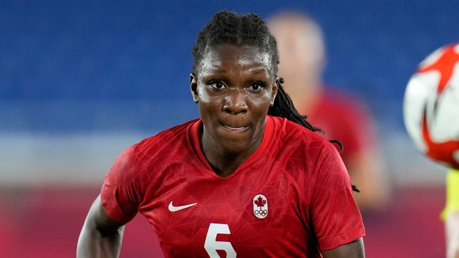 Canada's Deanne Rose in the women's soccer match for the gold medal against Sweden at the 2020 Summer Olympics, Friday, Aug. 6, 2021, in Yokohama, Japan. (AP Photo/Fernando Vergara)