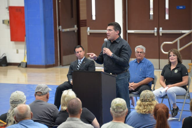 U.S. Rep. Jay Obernolte discusses plans to crack down on illegal cannabis cultivation at a Lucerne Valley Economic Development Association meeting on Tuesday, Aug. 3, 2021.